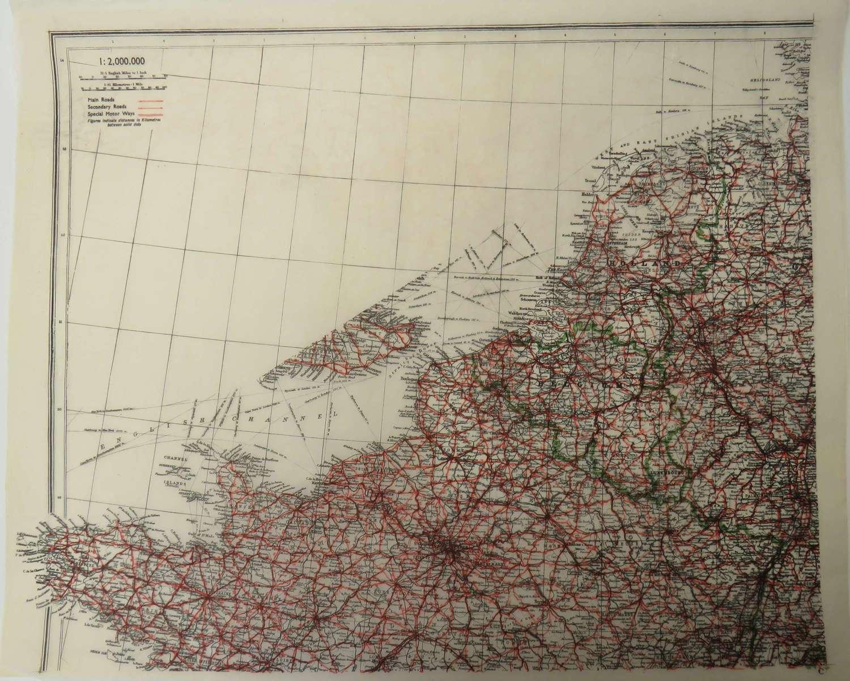 WW 2 Escape & Evasion Tissue Map of Europe