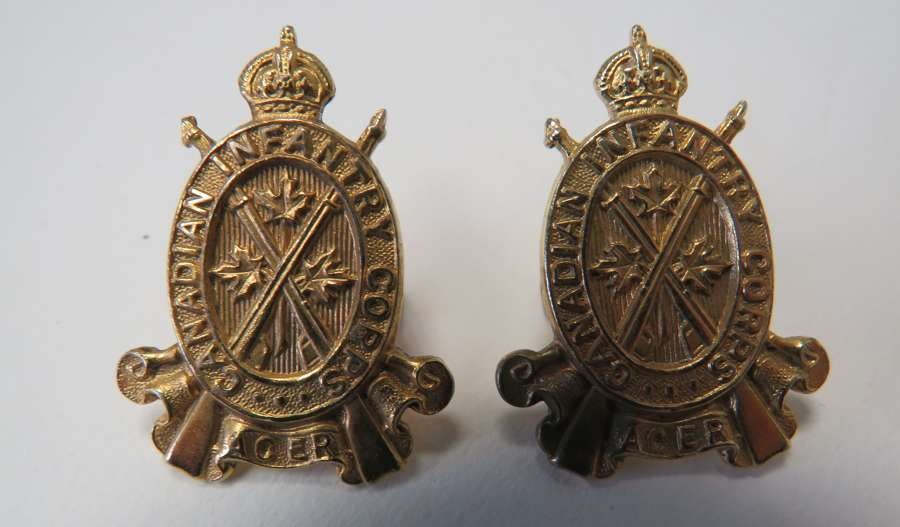 Pair of pre 1952 Canadian Infantry Corps Collar Badges