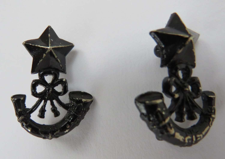 Pair of Scottish Rifles Collar Badges