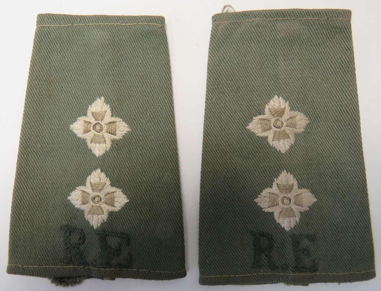 Pair of Royal Engineers Officers Slip on Rank Straps