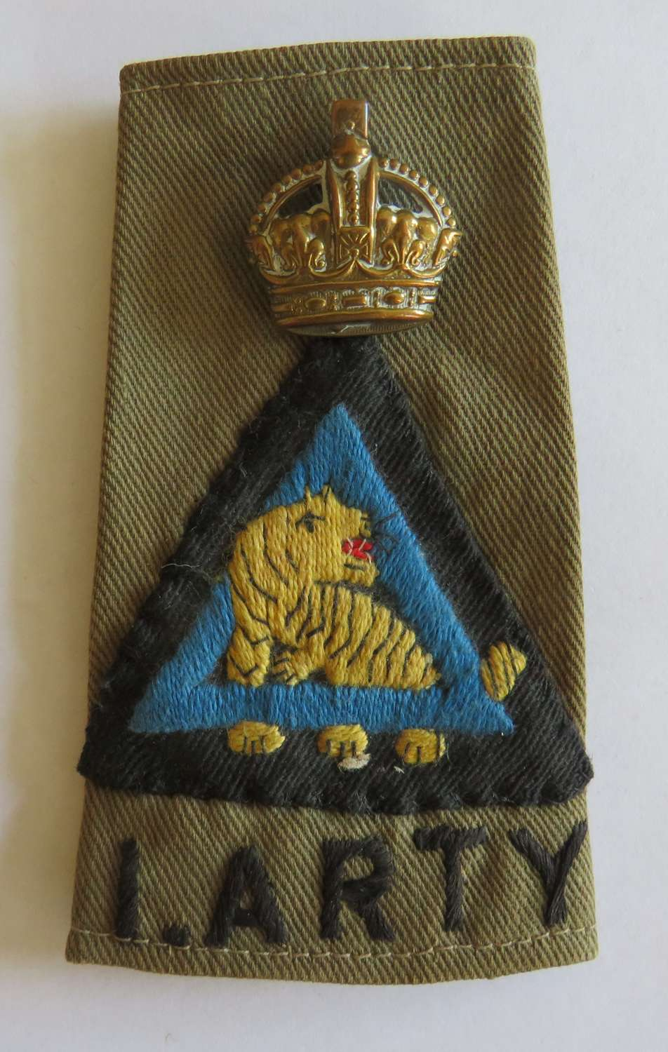 Indian Artillery 26th Indian Division Officers Rank Slip on