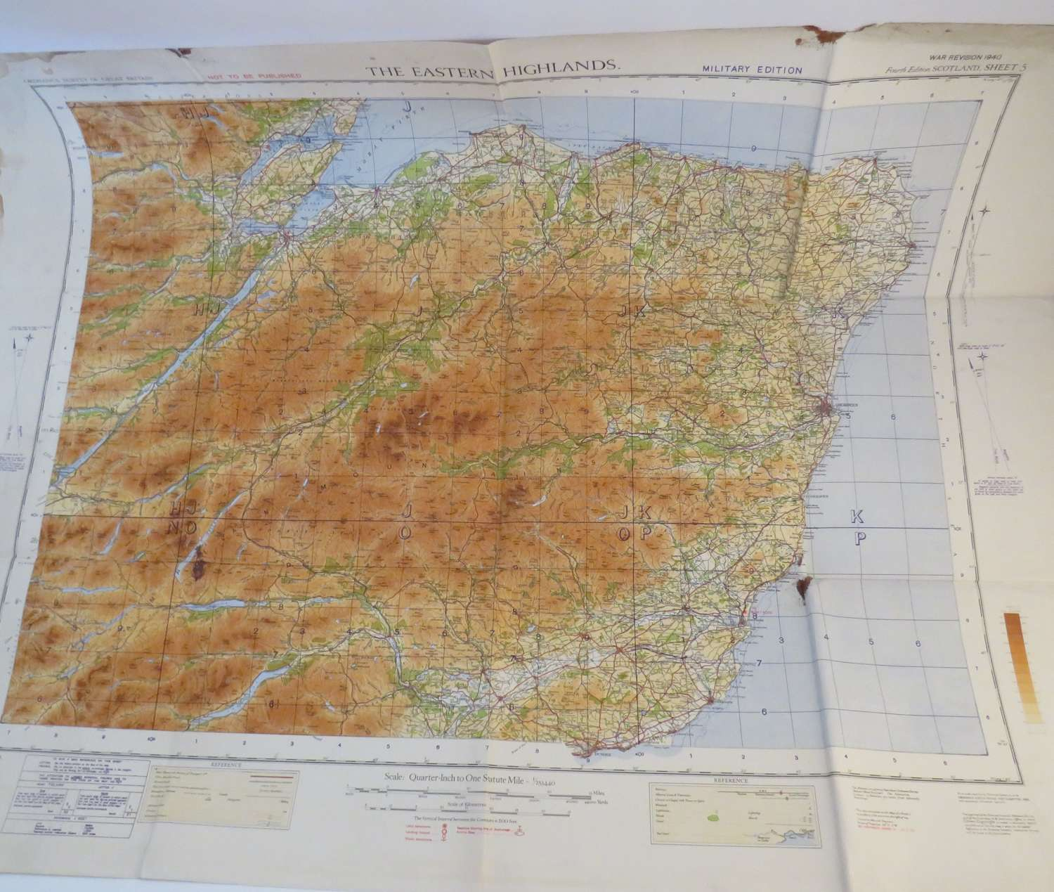 Set of 5 R.A.F / Army Wartime maps of Scotland