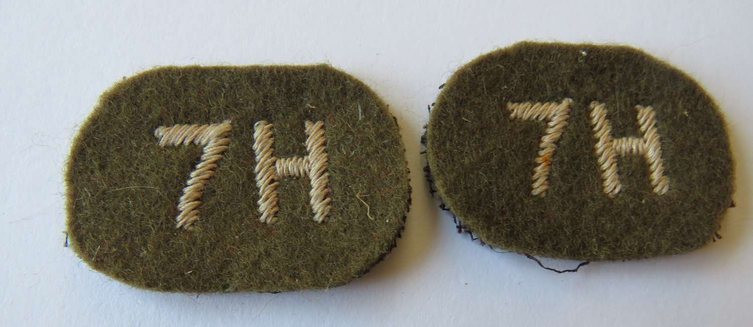 Pair of 7th Hussars Shoulder Titles