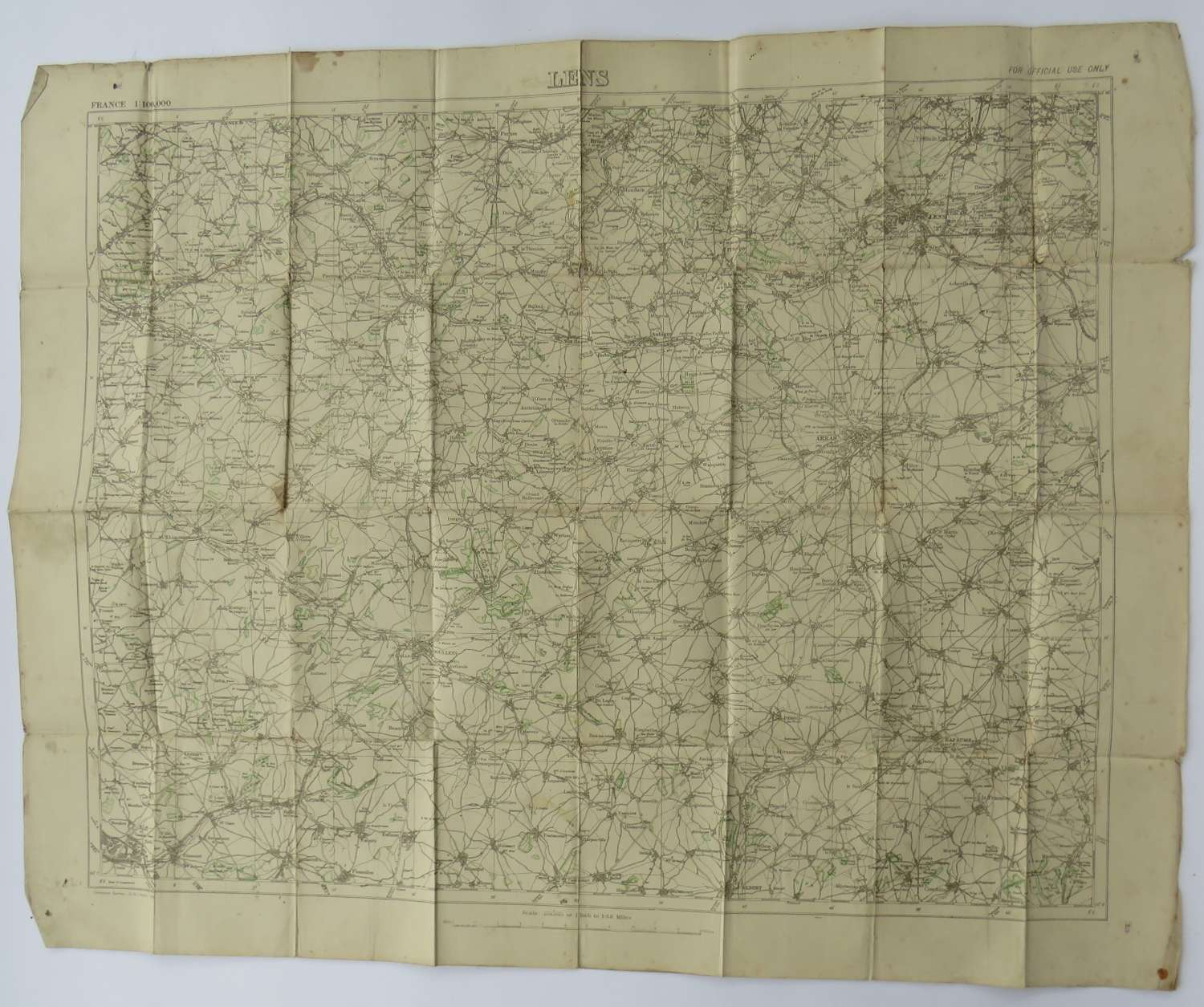 WW 1 Map of Lens France Dated 1918