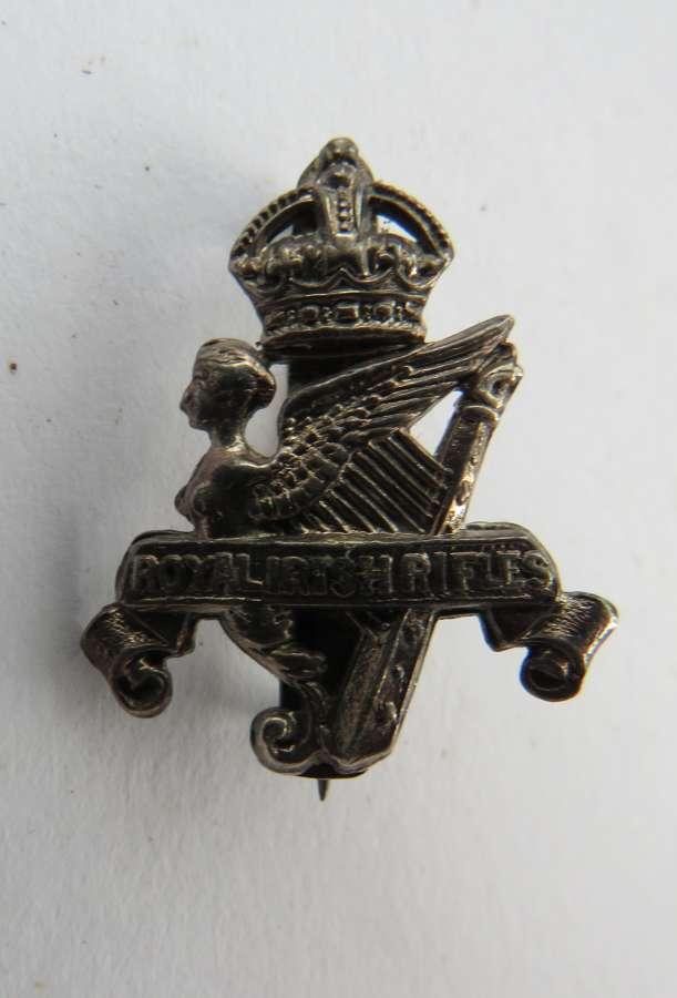 Royal Irish Rifles Officer Pattern Cord Boss Badge