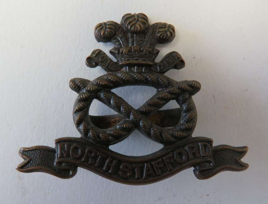 North Stafford Officers Bronzed Cap Badge