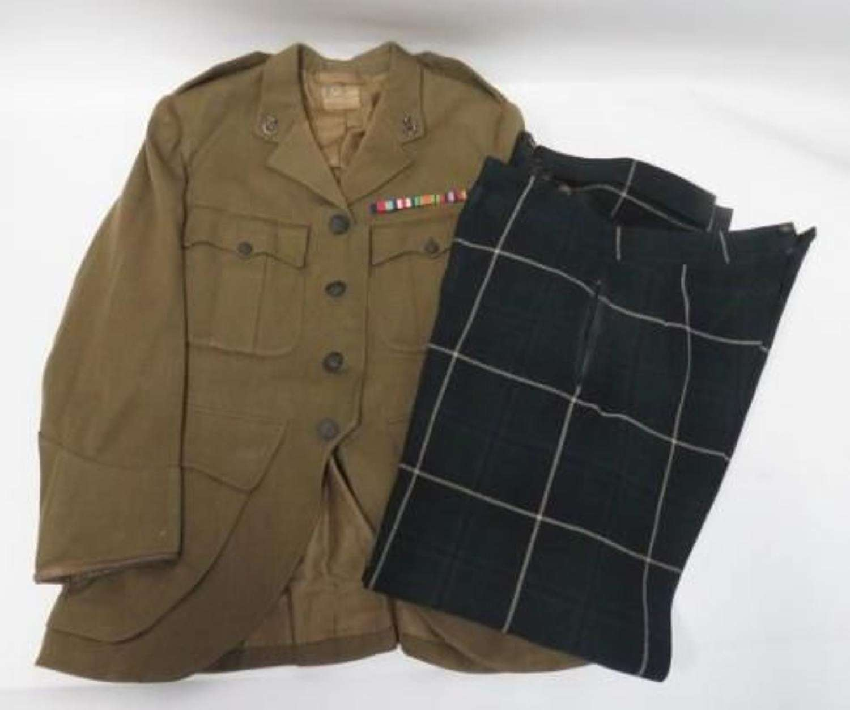 Scottish Rifles Officers Service Dress Doublet And Tartan Trews