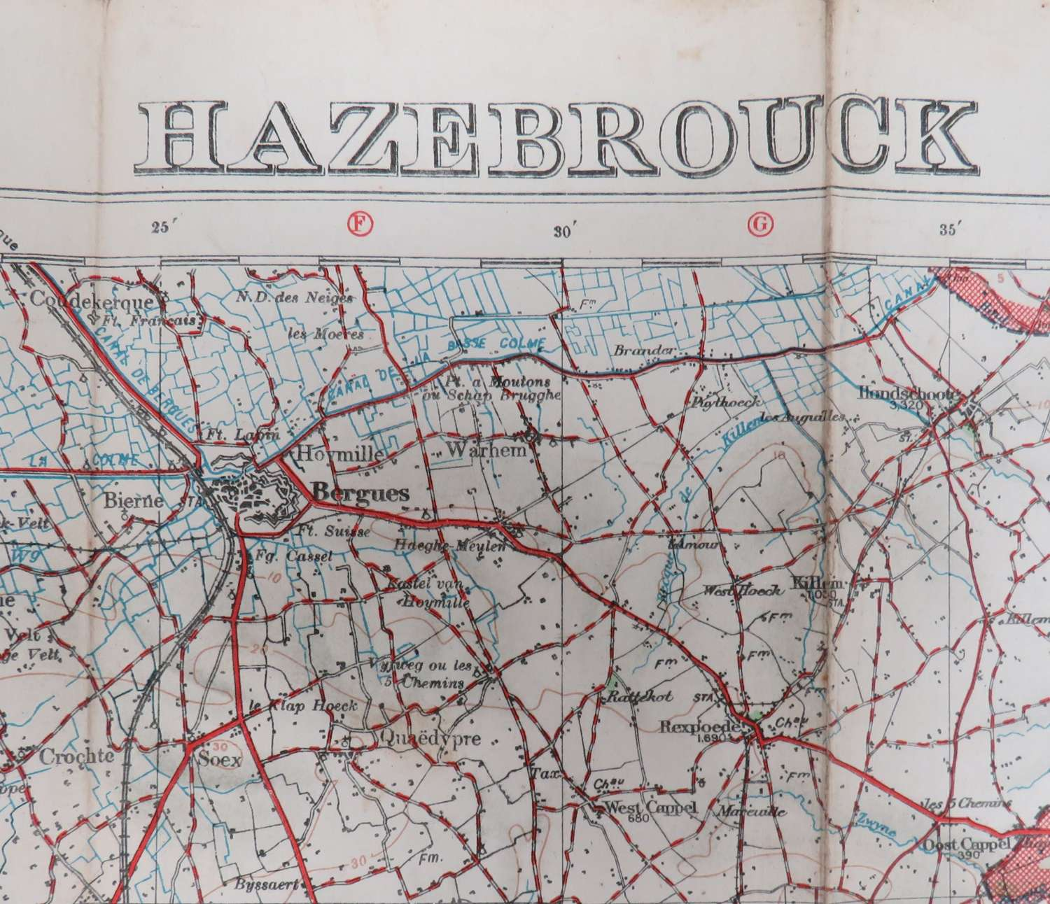 WW 1 Field Used Belgium Map of Hazebrouck dated 1916