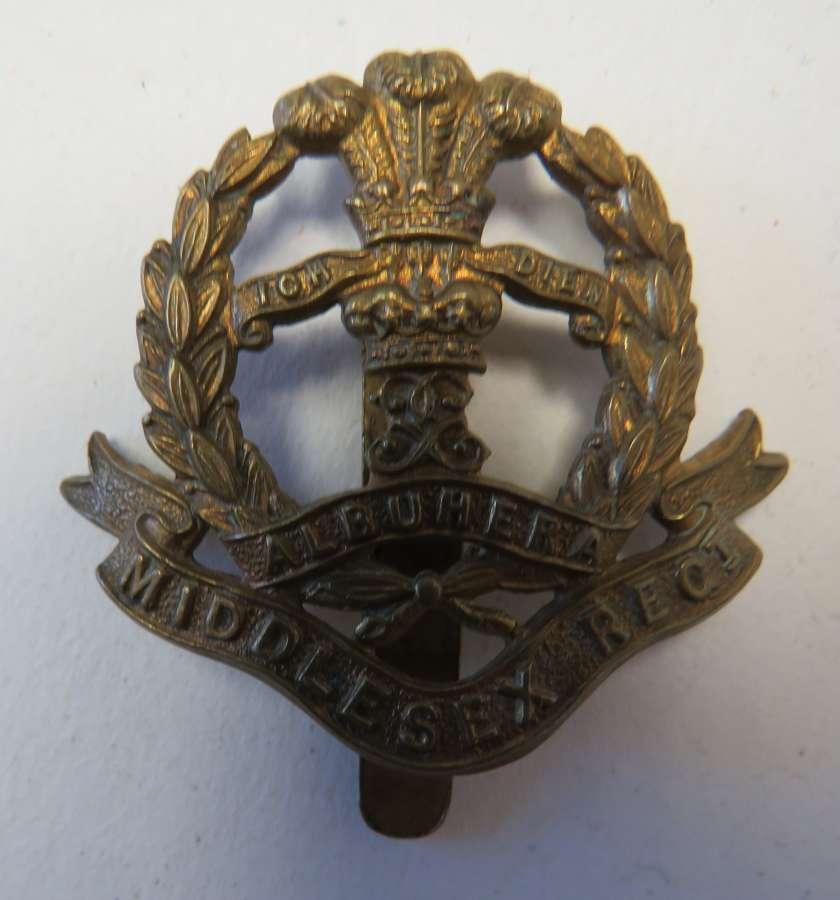 WW 1 War Economy Middlesex Regiment Cap Badge