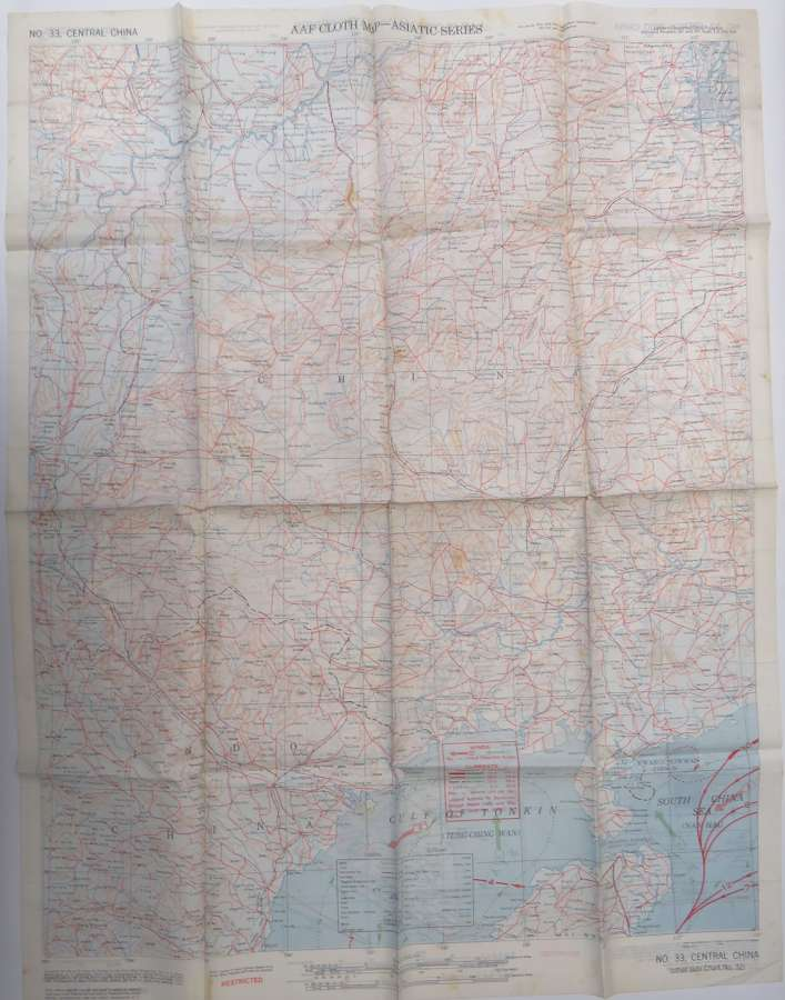 WW 2 Dated American A.A.F Escape Map of China