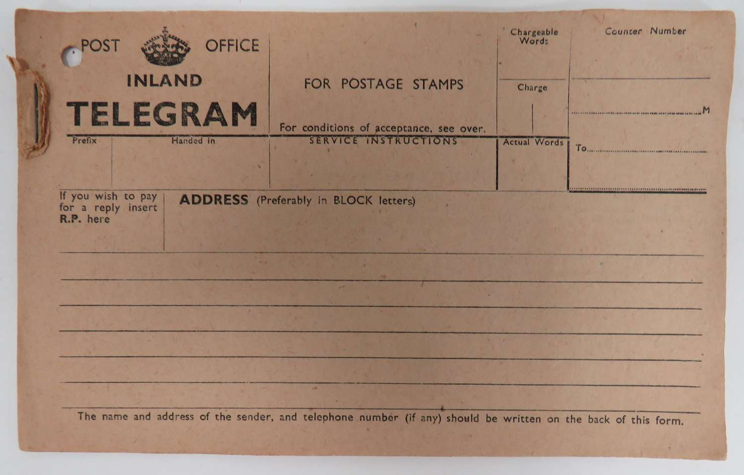 WW 2 Unused Post Office Telegrams