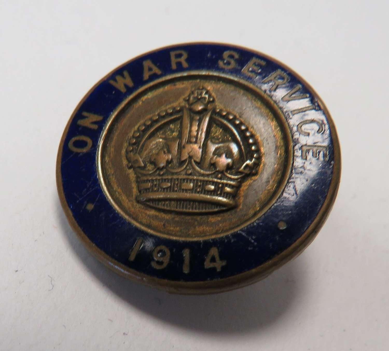 1914 On War Service Lapel Badge