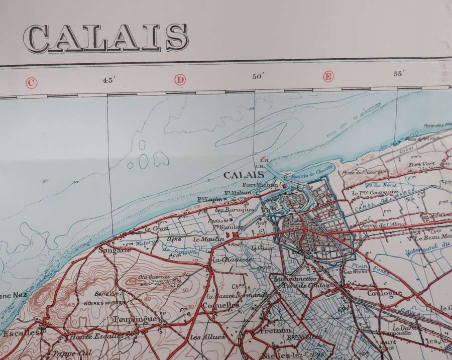 WW 1 Dated 1917 Calais Map