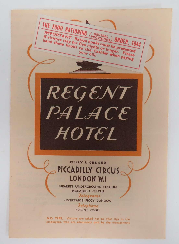 WW 2 London Hotel Menu