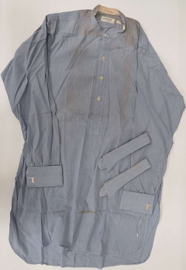 Interwar R.A.F / Civilian Blue Collarless Shirt and loose collars