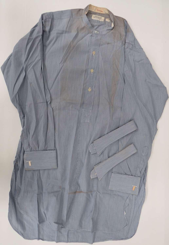 Interwar R.A.F / Civilian Blue Collarless Shirt and loose collars