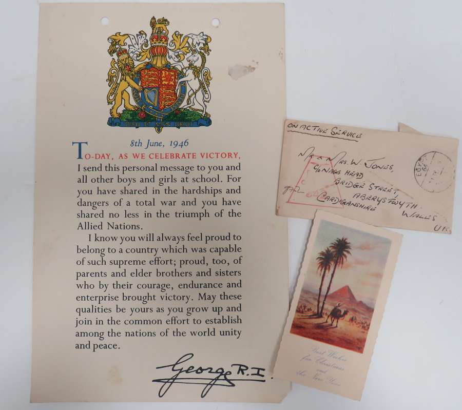 WW 2 Childrens Victory Certificate and Christmas Card