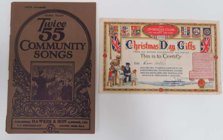 WW 1 Christmas Day Gifts Certificate and Song Book