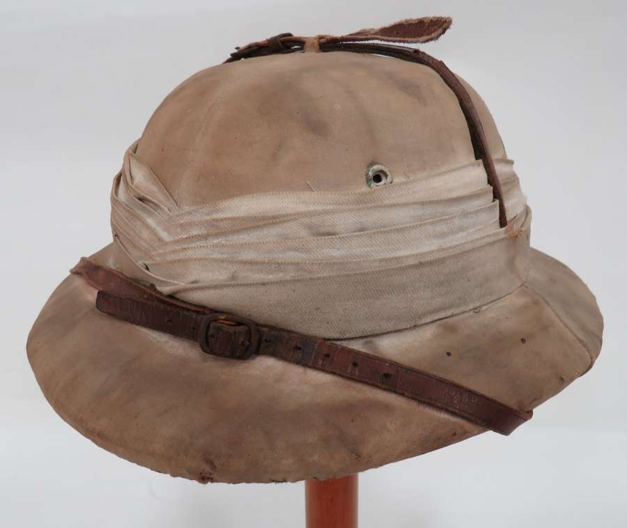 Interwar Hong Kong made Polo Pattern Pith Helmet