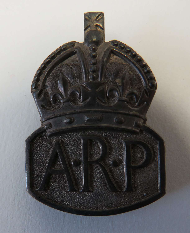 WW2 Silver Hallmarked A.R.P Lapel Badge