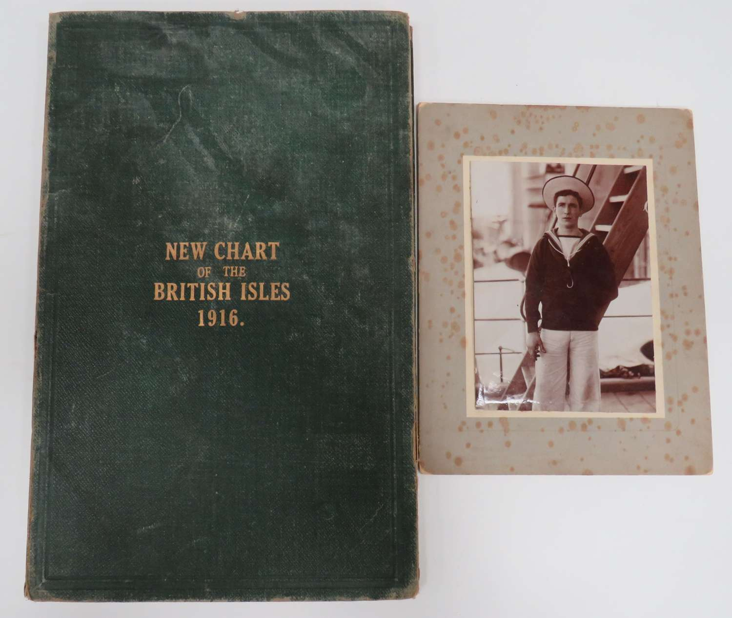 1916 Chart of the British Isles Folder and Naval Photograph