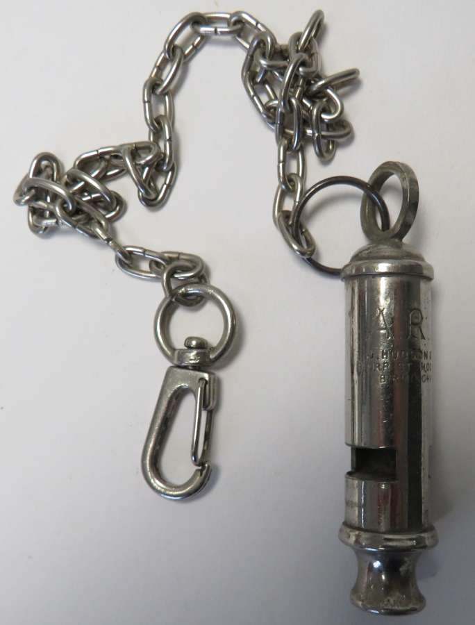 WW2 Air Raid Personal A.R.P Issue Whistle