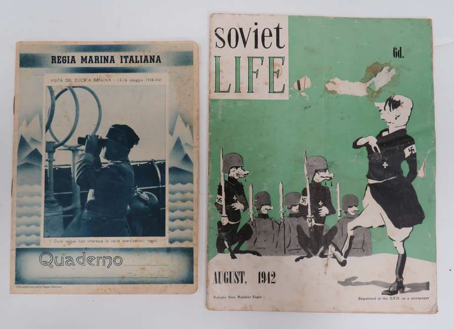 WW2 Soviet Life Magazine and Italian Note Book