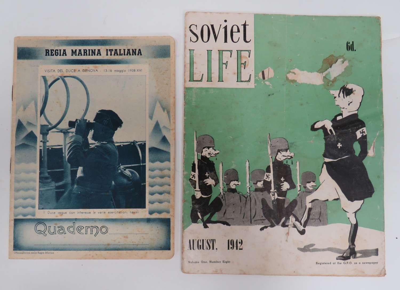 WW2 Soviet Life Magazine and Italian Note Book