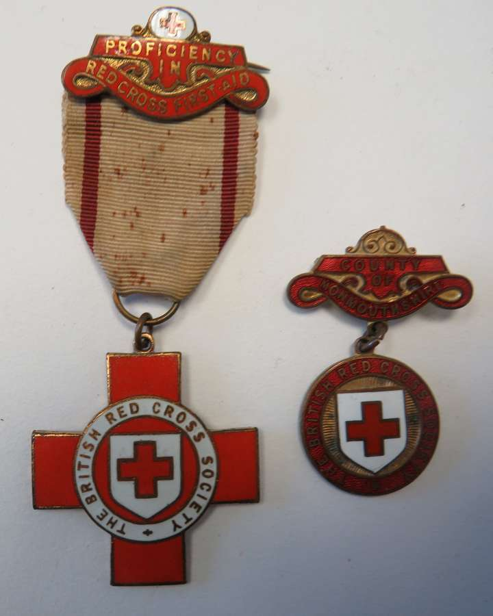 Red Cross Monmouthshire Breast Badge and First Aid Medal
