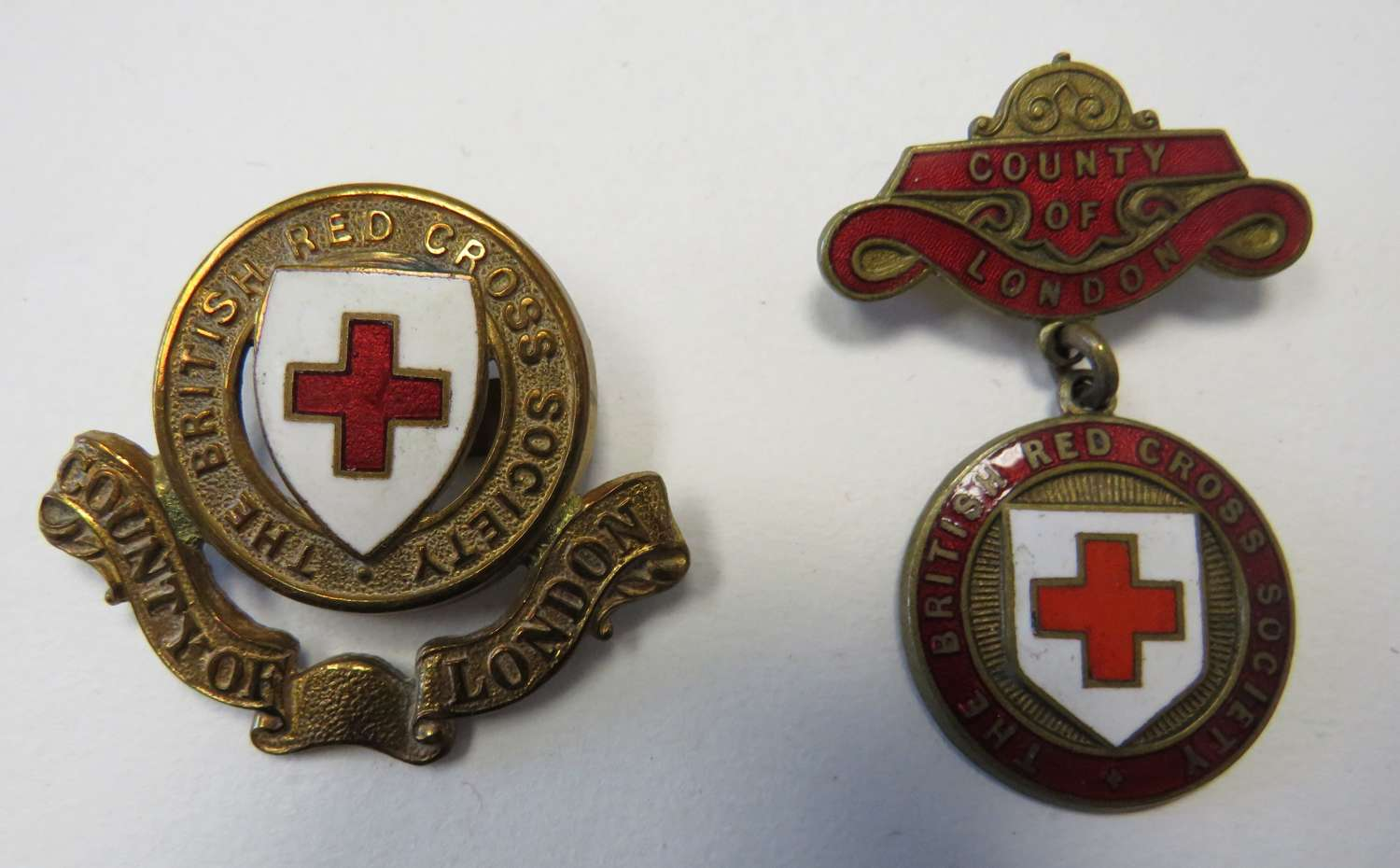 British Red Cross County of London Cap and Breast Badges