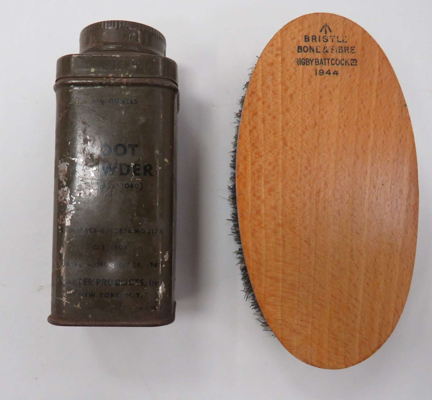 1944 Dated British Brush and U.S Issue Foot Powder