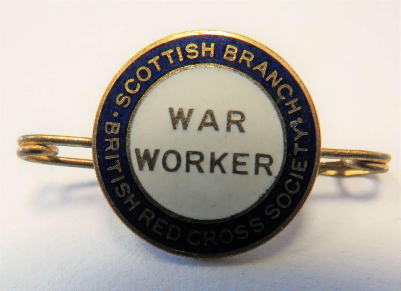 Scottish Branch Red Cross War Worker Lapel Badge