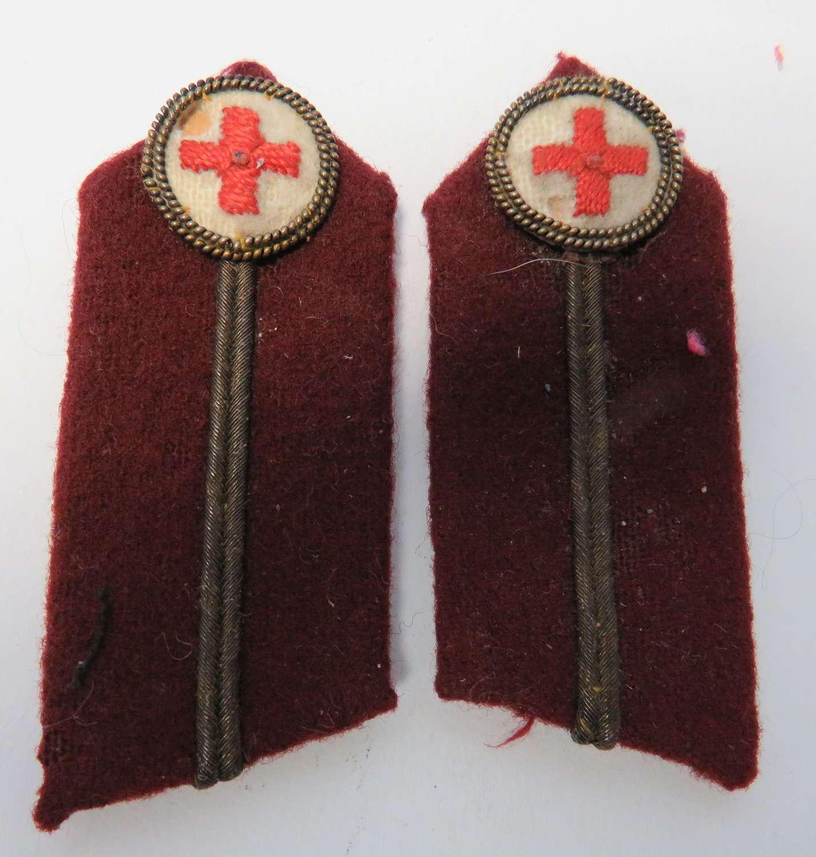 Pair of Red Cross Senior Officer Collar Badges