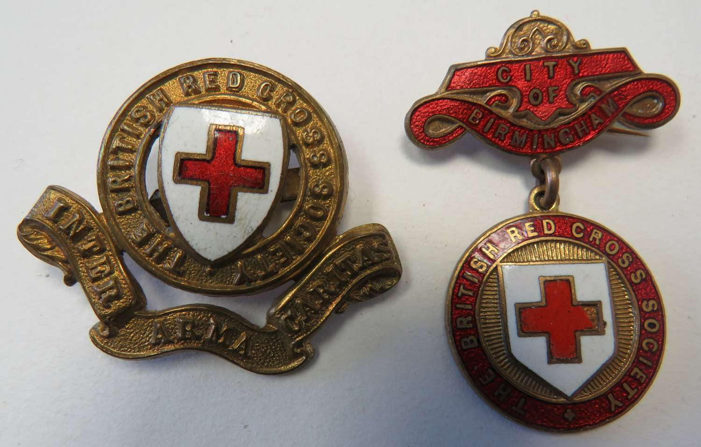 British Red Cross Cap Badge and Birmingham Badge