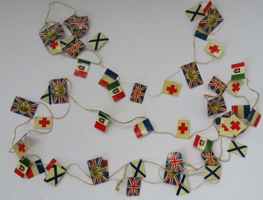 WW1/WW2 Period Small Paper Flags Display