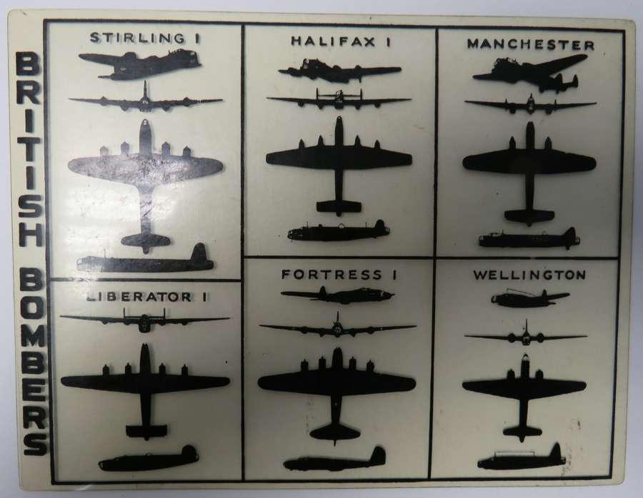 WW2 R.A.F Celluloid Aircraft I.D Card