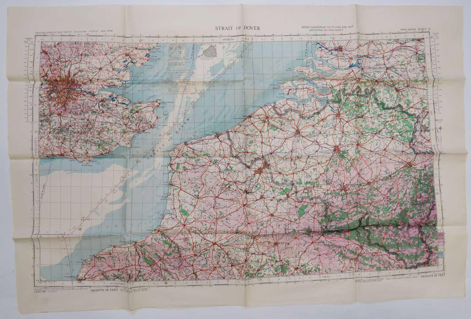 R.A.F Issue Straits of Dover Map