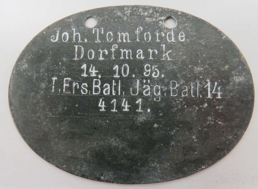 WW1 German Jager Battalion Identification Tag