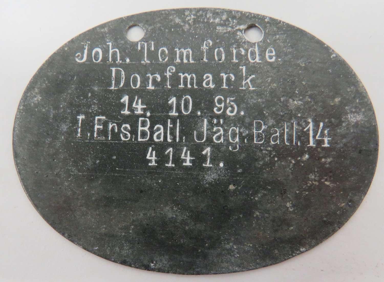 WW1 German Jager Battalion Identification Tag