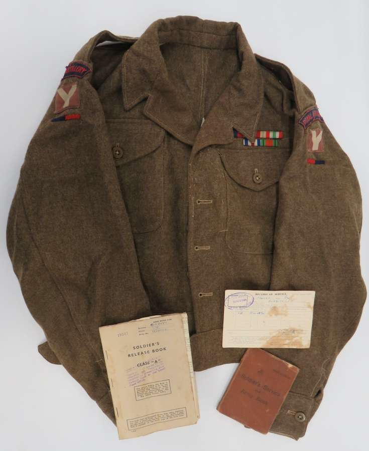 WW2 5th Division Battledress , Paperwork and Medals