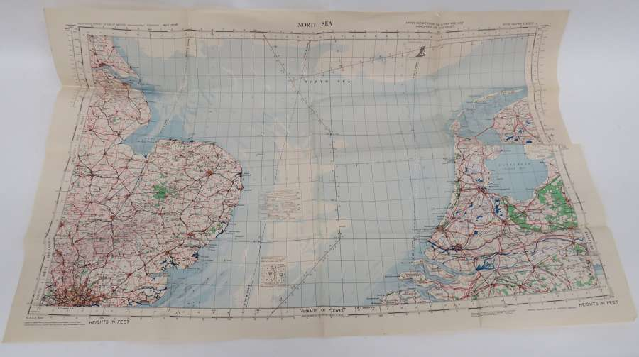 WW2 R.A.F North Sea Aviation Map