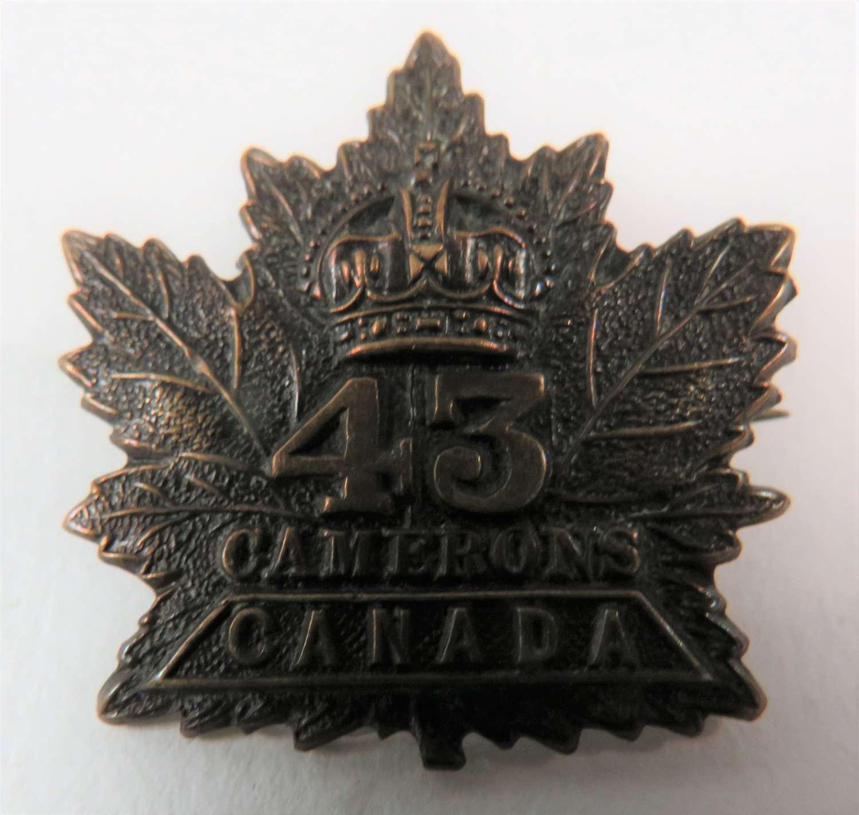 43rd Canadians Collar Badge
