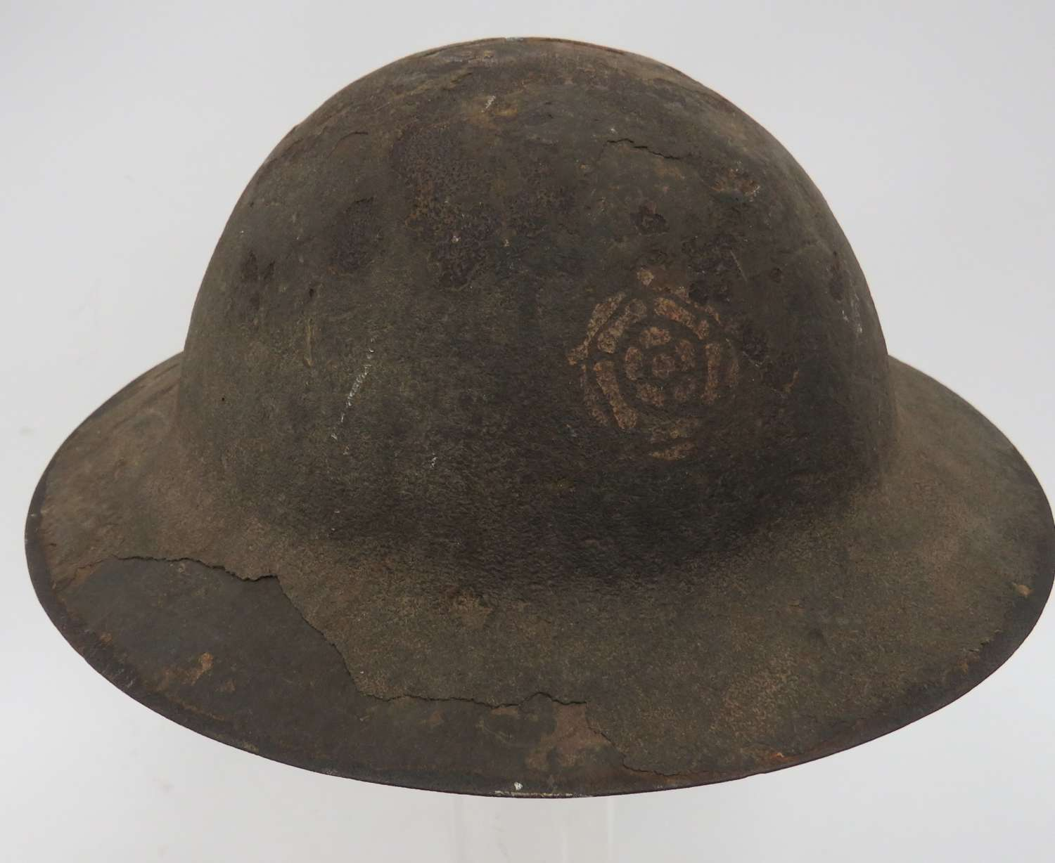 Rare WW1 49th (W.Riding) Divisional Formation Badged Helmet