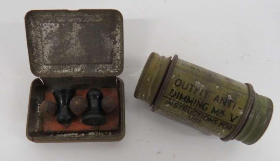 Pair of WW2 Earplugs and Anti Dimming Tin