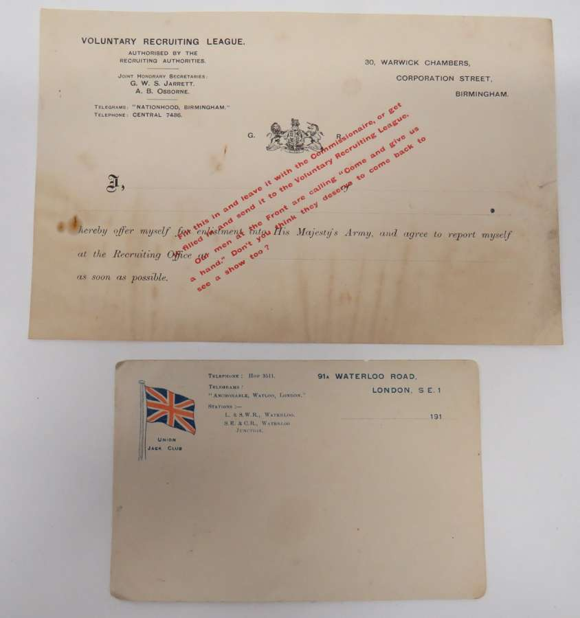 Rare WW1 Recruiting Form and Post card