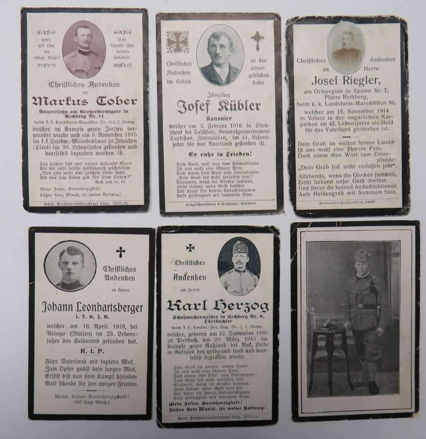 Six WW1 German Casualty Memorial Cards