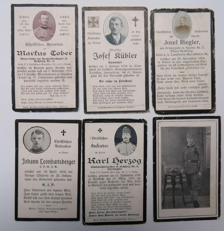 Six WW1 German Casualty Memorial Cards