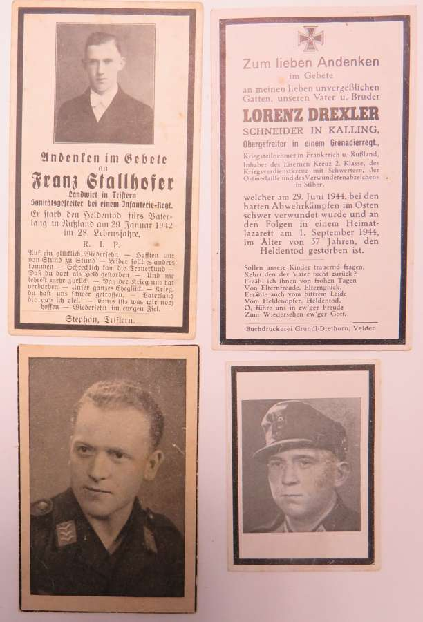Four WW2 German Casualty Memorial Cards