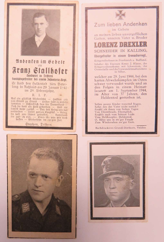 Four WW2 German Casualty Memorial Cards