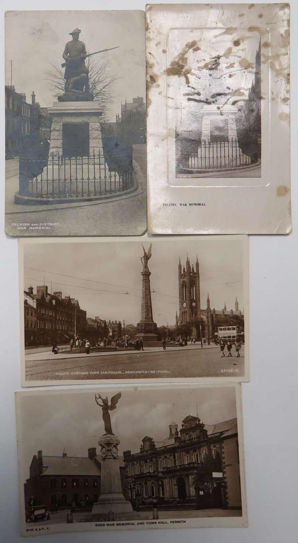 Four Boer War Memorial Postcards